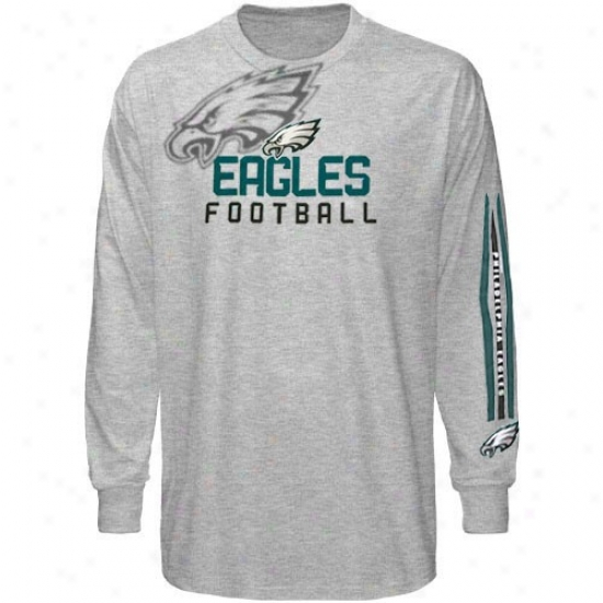Philly Eagles Shirt : Reebok Philly Eagles Youth Ash Pointillism Long Sleeve Shirt