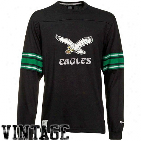 Philly Eagles Shirts : Reebok Philly Eagles Black Distreessed Throwback Applique Pfemium Long Sleeve Shirts