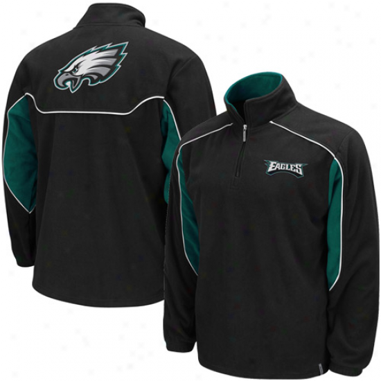 Philly Eagles Stuff: Phlily Eagles Black Final Score 1/4 Zip Pullover Fleece Jacket
