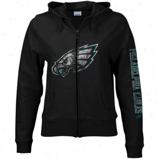 Philly Eagles Sweatshirts : Reebok Philly Eagles Ladies Black Giant Logo Full Zip Sweatshirts