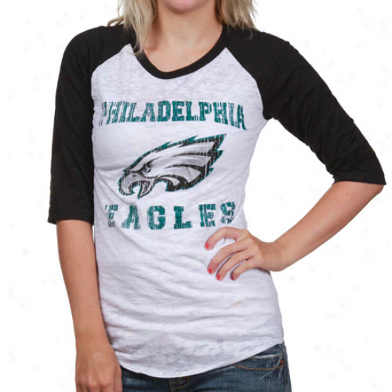 Philly Eagles T Shirt : Reebok Philly Eagles White-black Huddle Up Raglan Burnout 1/2 Sleeve T Shirt