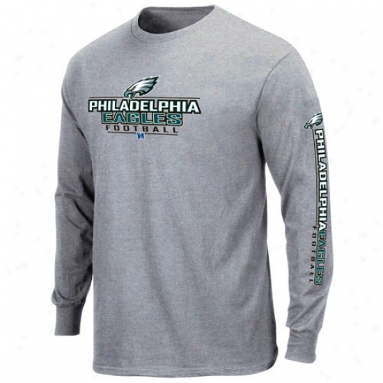 Philly Eagles Tees : Philly Eagles Ash Primary Receiver Long Sleeve Tees