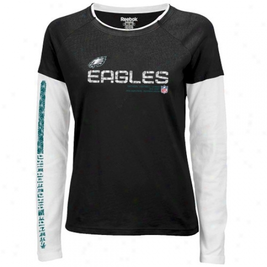 Philly Eagles Tees : Reebok Philly Eagles Ladies Black Sideline Tacon Long Sleeve Layered Tissue Tees
