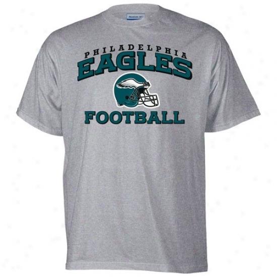 Philly Eagles Tshirts : Reebok Philly Eagles Ash Stacked Helmet Tshirts