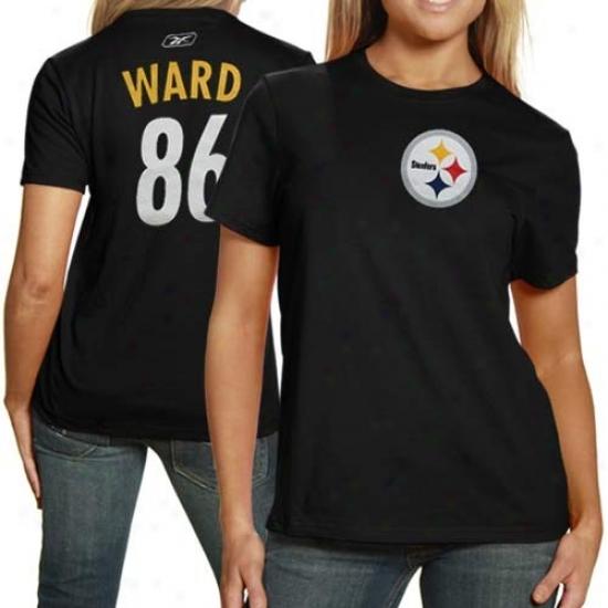 Pitt Steeler Apparel: Reebok Pitt Steeler #86 Hines Ward Ladies Black Net Player T-shirt