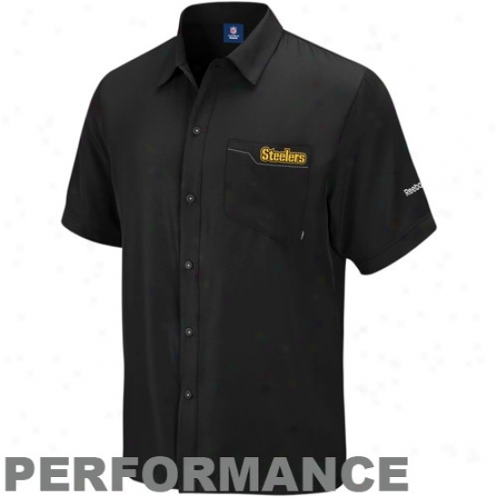 Pitt Steelerr Clothes: Reebok Pitt Steeler Black Sideline Full Button Performance Polo