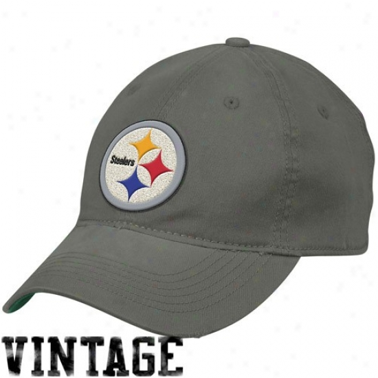 Pitt Steeler Hats : Reebok Pitt Steeler Chatoal Retro Distressed Slouch Flex Fit Hats