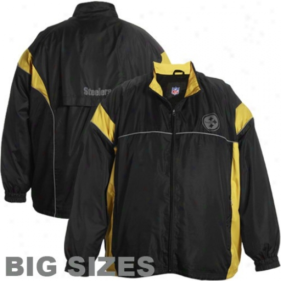 Pitt Steeler Jackets : Pitt Steeler Black Blocked Full Zip Jackets
