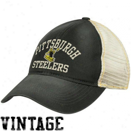 Pitt Steeler Merchandise: Reebok Pitt Steeler Ladies Navy Black-natural Lubber Mesh Back Adjustable Hat