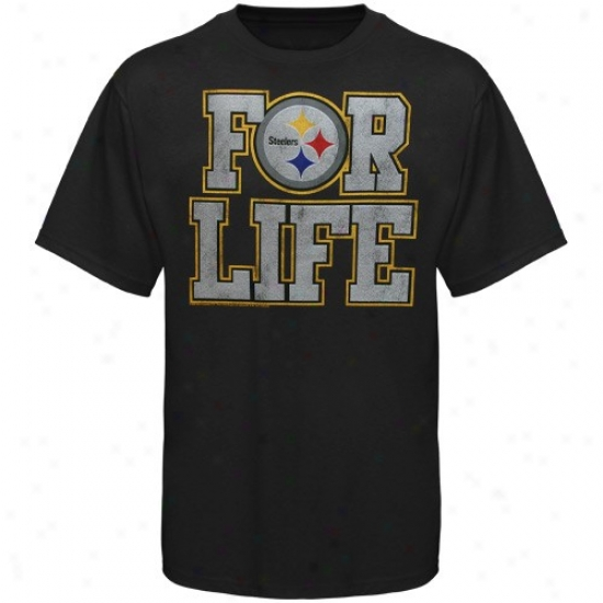 Pitt Steeler Shirt : Junk Food Pitt Steeler Black For Life Premium Shirt