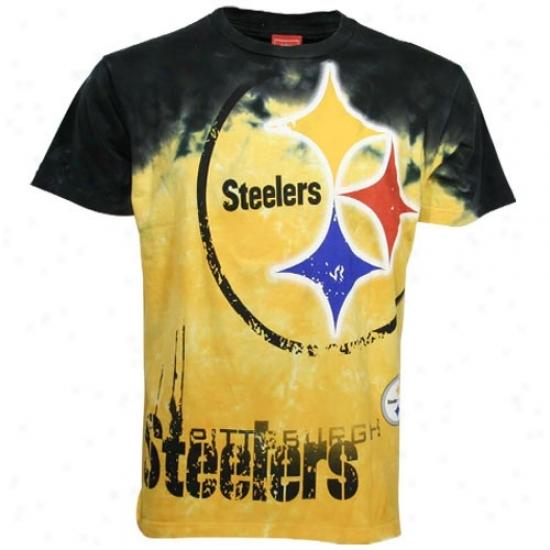 Pitt Steeler Shirt : Piyt Steeler Gold Fade Tie Dye Shirt