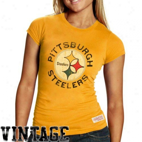 Pitt Steeler Tees : Mitchell & Ness Pitt Steeler Ladies Gold Juniors Vintage Graphic Premium Tees