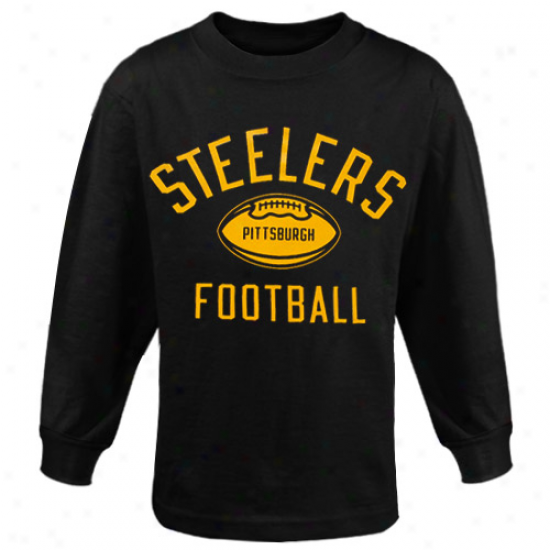 Pitt Steeler Tshirts : Reebok Pitt Steeler Preschool Black Workout Long Sleeve Tshirts