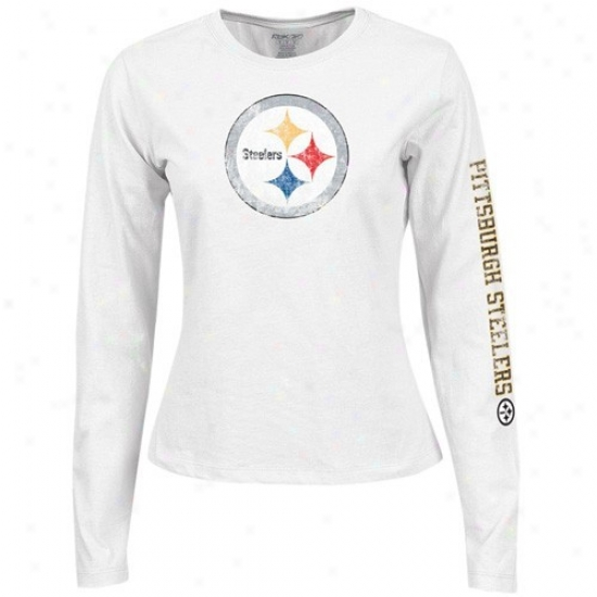 378ae670506 Pitt Steeler Tshirts   Reebok Pitt Steeler Young men Girls White Giant Logo  Long Sleeve Tshirts