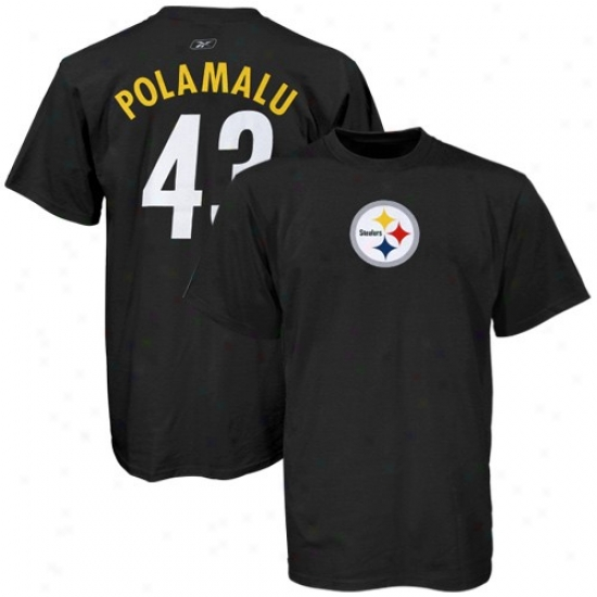 Pitt Steelers Apparel: Reebok Pitt Steelers #43 Troy Polamalu Black Player T-shirt