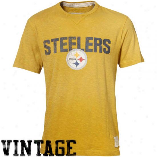 Pitt Steelers Attire: Reebok Pitt Steelers Gold Legacy Vintage Premium Heathered T-shirt