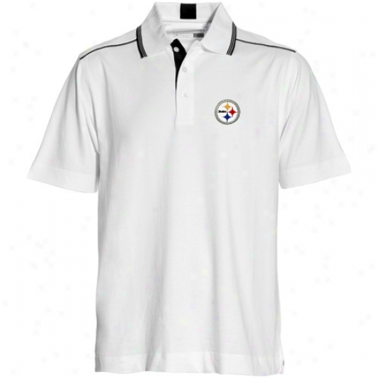 Pitt Steelers Clothing: Cutter & Buck Pitt Steelers White Baseline Polo