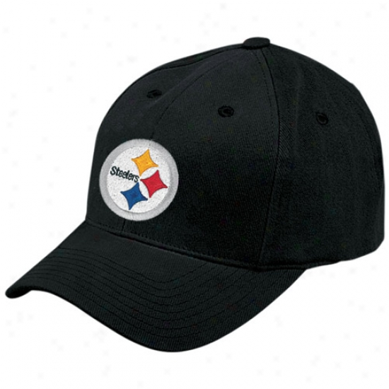 Pitt Sgeelers Gear: Reebok Pitt Steelers Black Basic Logo Brushed Cotton Hat