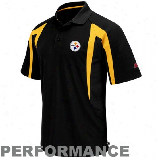 Pitt Steelers Golf Shirts : Pitt Steelers Black Field First-rate Iii Performance Golf Shirts