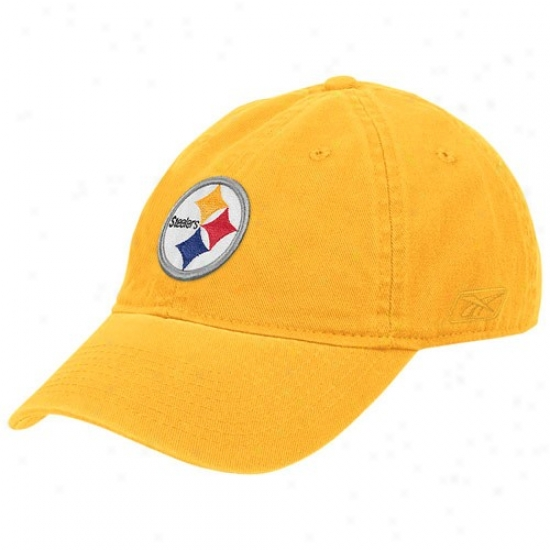 Pitt Steelers Hats : Reebok Pitt Steelers Ladies Gold Basic Slouch Adjustable Hats