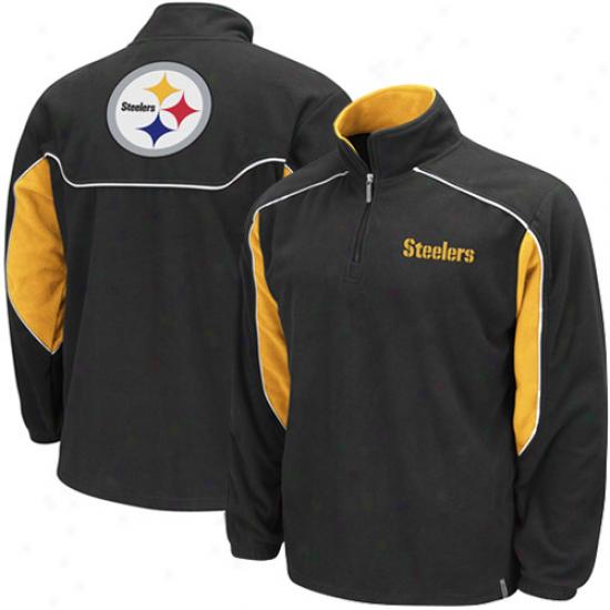 Pitt Steelers Hoody : Reebok Pitt Steelers Black Final Score 1/4 Zip Pullover Hoody Jacket