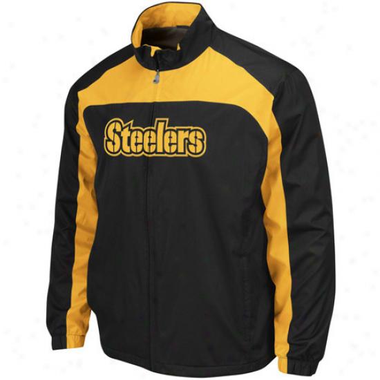 Pitt Steelers Jacket : Pitt Steelers Black-gol Preservation Blitz Midweight Full Zip Jacket