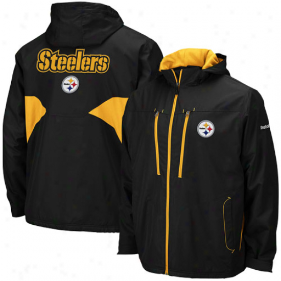 Pitt Steelers Jackets : Reebok Pitt Steelers Black Sideline Midweight Fu1l Zip Jackets
