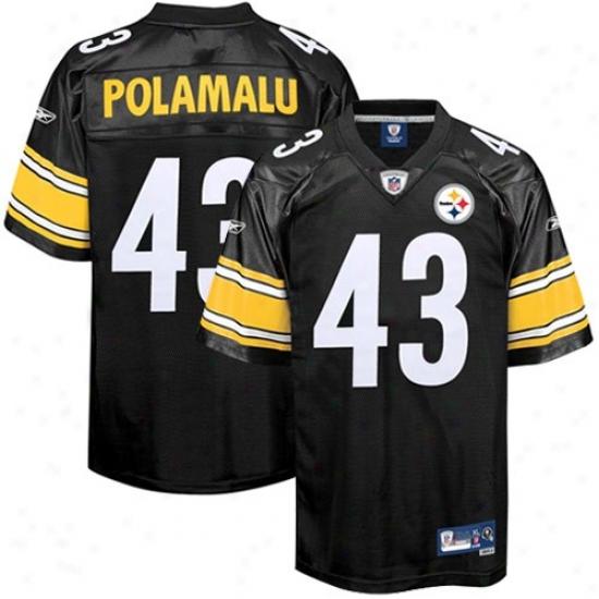 Pitt Steelers Jersey : Reebok Nfl Equipment Pitt Steelers #43 Troy Polamalu Black Prsmier Tackle Twill Jersey