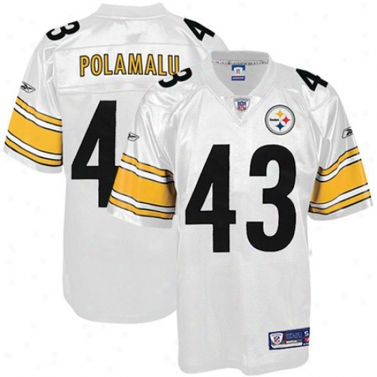Pitt Steelers Jersye : Reebok Nfl Equipment Pitt Steelers #43 Troy Polamalu White Premoer Tackle Twill Jersey