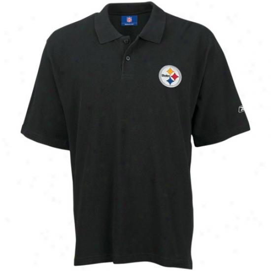 Pitt Steelers Polos : Reebok Pitt Steelers Black Team Logo Pique Polos