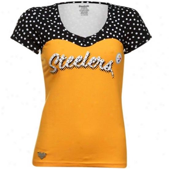 Pitt Steelers Shirt : Reebok Pitt Steelers Ladeis Gold-black Sweetheart Scoop V-neck Premium  Shirt