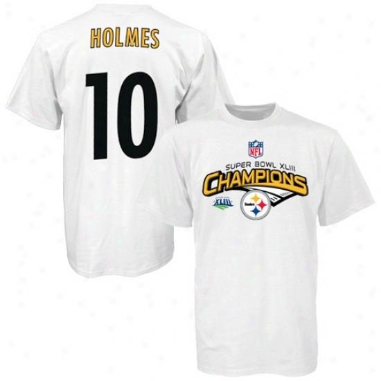 Pitt Steelers Shirts : Reebok Pitt Stwelers Super Bowl Xliii Champions #10 Swntonio Holmes White Player Shirts