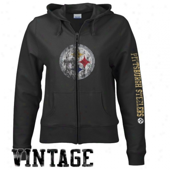 Pitt Steelets Sweat Shirts : Reebok Pitt Steelers Black Giant Distressed Logo Full Zip Vintage Sweat Shirts