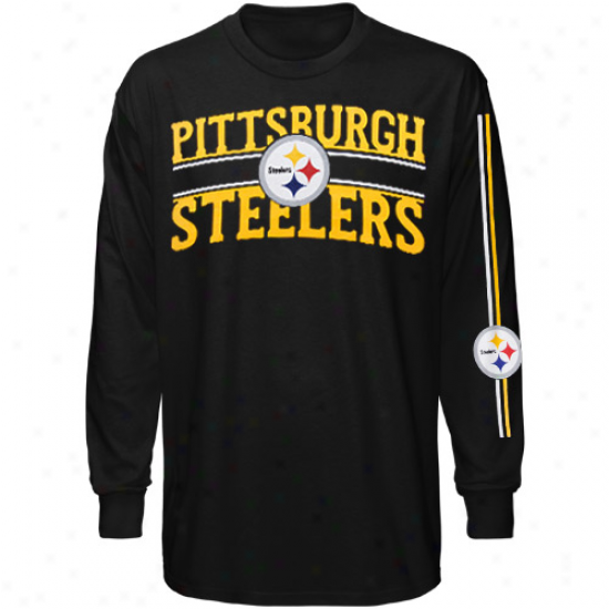 Pittsburgh Steeler Apparel: Reebok Pittsburgb Steeler Youth Black Divinity Drive Long Sleeve T-shirt