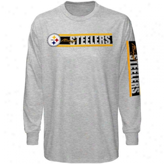 Pittsburgh Steeler Apparel: Reebok Pittsburgh Steeler Ash The Stripes Long Sleeve T-shirt