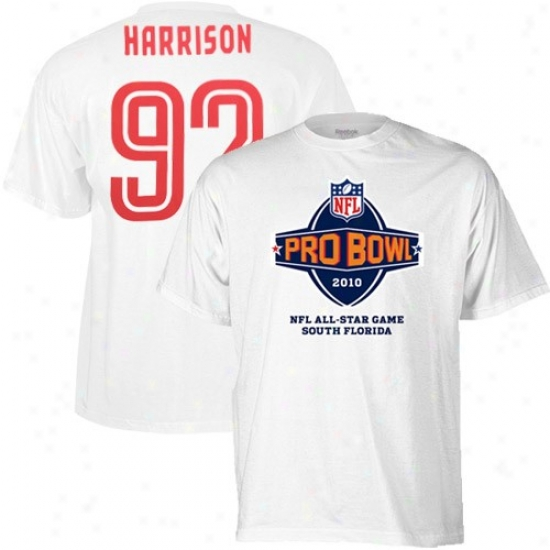 Pittsburgh Steeler Attire: Reebok 2010 Pro Bowl White #92 James Harrison Player T-shirt