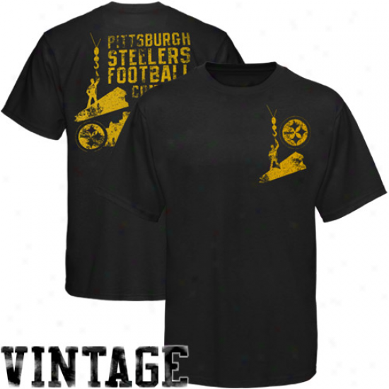 Pittsburgh Steeler Attire: Reebok Pittsburgh Steeler Black Product Placement T-shirt