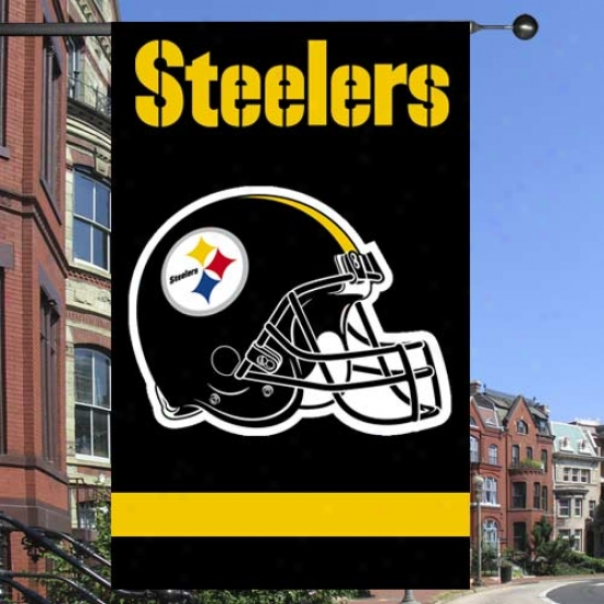 Pittsburgh Steeler Flags : Pittsburgh Steeler Black Applique Flags Flags