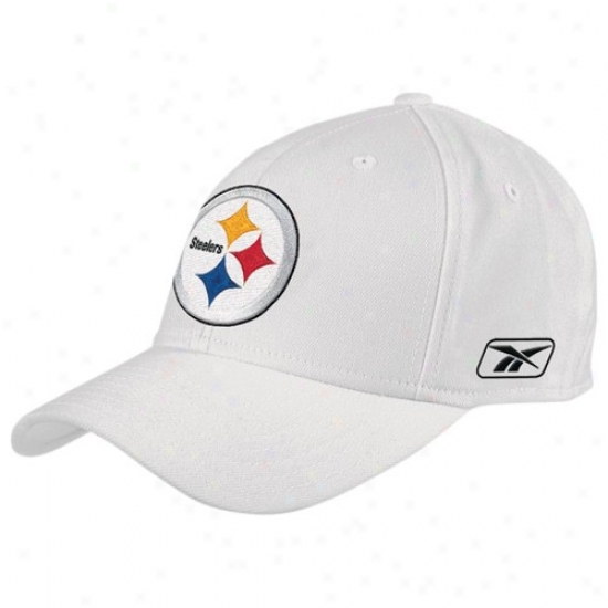 Pittsburgh Steeler Gear: Reebok Pittsburgh Steeler White Coaches Flex Hat
