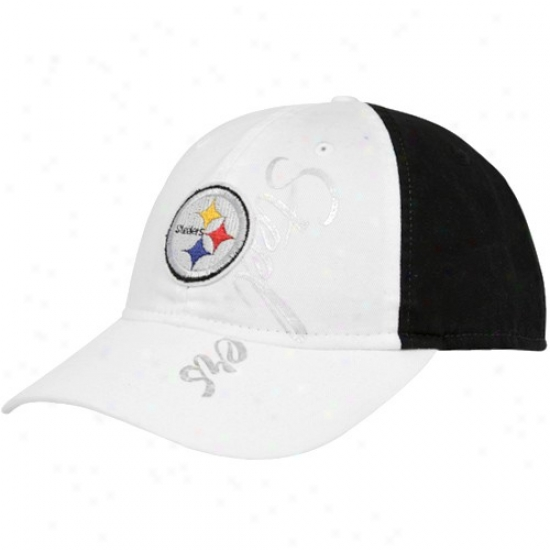 Pittsburgh Steeler Gear: Reebok Pittsburgh Steeler Ladies White-black Lubber Adjustable Hat