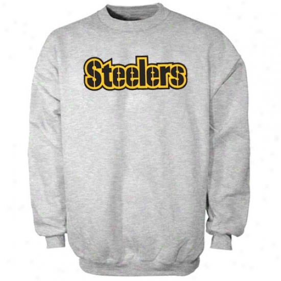Pittsburgh Steeler Hoody : Pittsburgh Steeler Heather Gray Classic Crew Iii Hoody