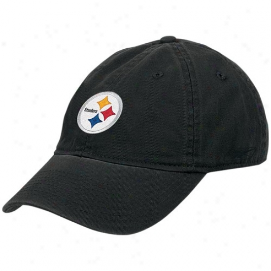 Pittsburgh Steeler Merchandise: Reebok Pittsburgh Steeler Black Ladies Basic Slouch Hat