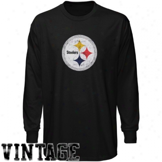 Pittsburgh Steeler T-shirt : Reebok Pittsburgh Steeler Youth Black Faded Logo Long Slseve Vintage T-shirt