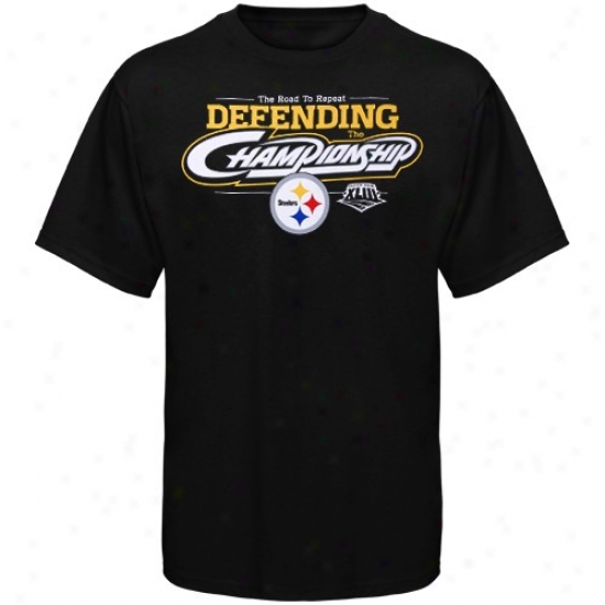 Pittsburgh Steeler T Shirt : Reebok Pitfsburgh Steeler Black Defending The Championship T Shirt