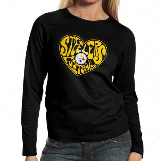 Pittsburgh Steeler Tee : Pittsburgh Steeler Ladies Black Heart Of The Field Long Sleeve Tee