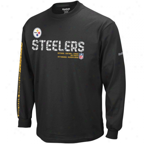 Pittsburgh Steeler Tee : Reebok Pittsburgh Steeler Black Sideline Tacon Long Sleevve Tee
