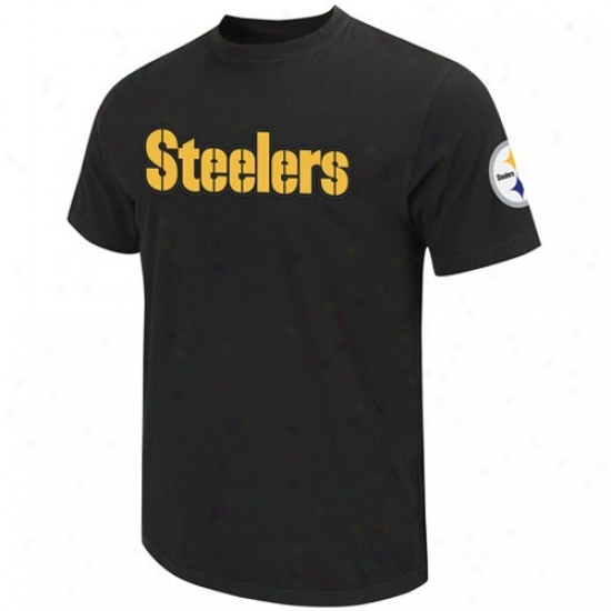 Pittshurgh Steeler Tees : Pittsburgh Steeler Black Zone Blitz Applique Tees