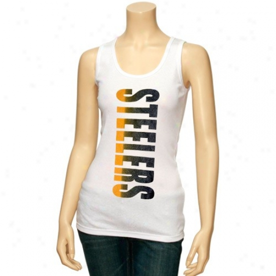 Pittsburgh Steeler Tees : Pittsburgh Steeler Ladies White Oversize Graphic Tank Top