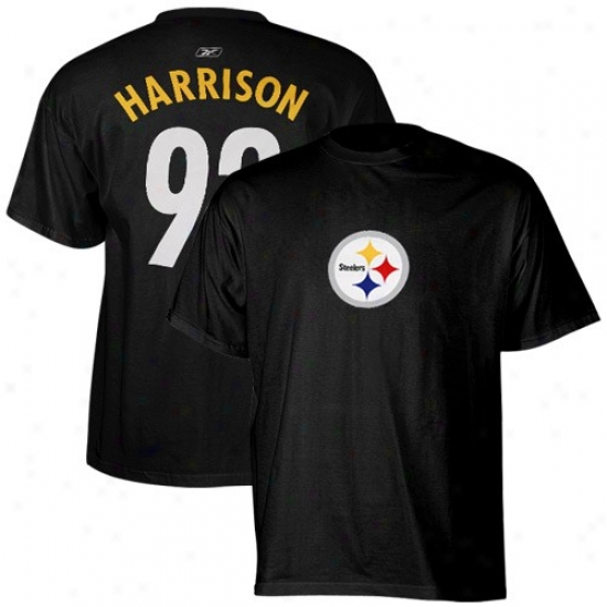 Pittsburgh Steeler Tshirt : Reebok Pittsburgh Steeler #92 James Harrison Black Scrimmage Gear Tshirt