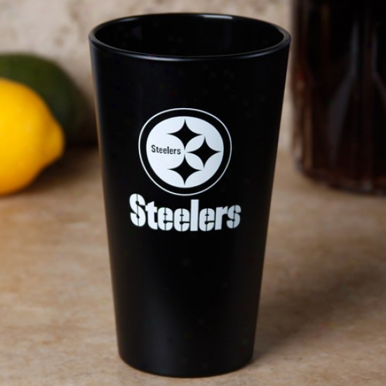 Pittsburgh Steelers Black 16 Oz. Frosted Pint Glass